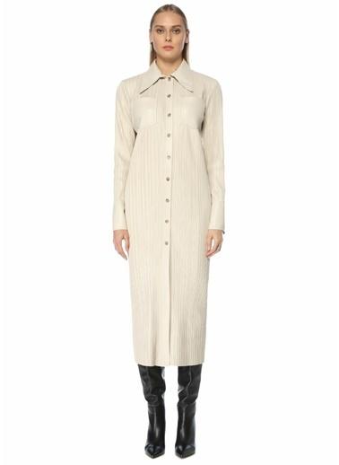 Nanushka Nanushka Lee  Pilili Midi Gömlek Elbise 101557464 Ekru
